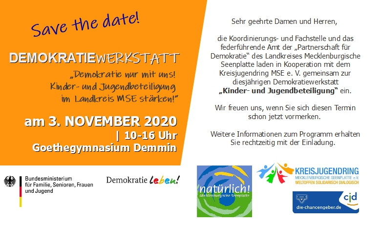 Read more about the article Save the Date – Demokratiewerkstatt 03. November 2020 in Demmin