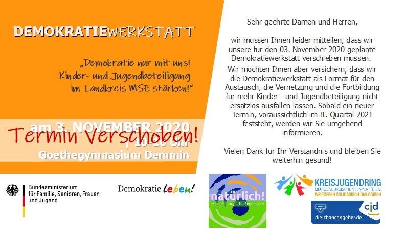 Demokratiewerkstatt am 03. November 2020 in Demmin -> Termin verschoben