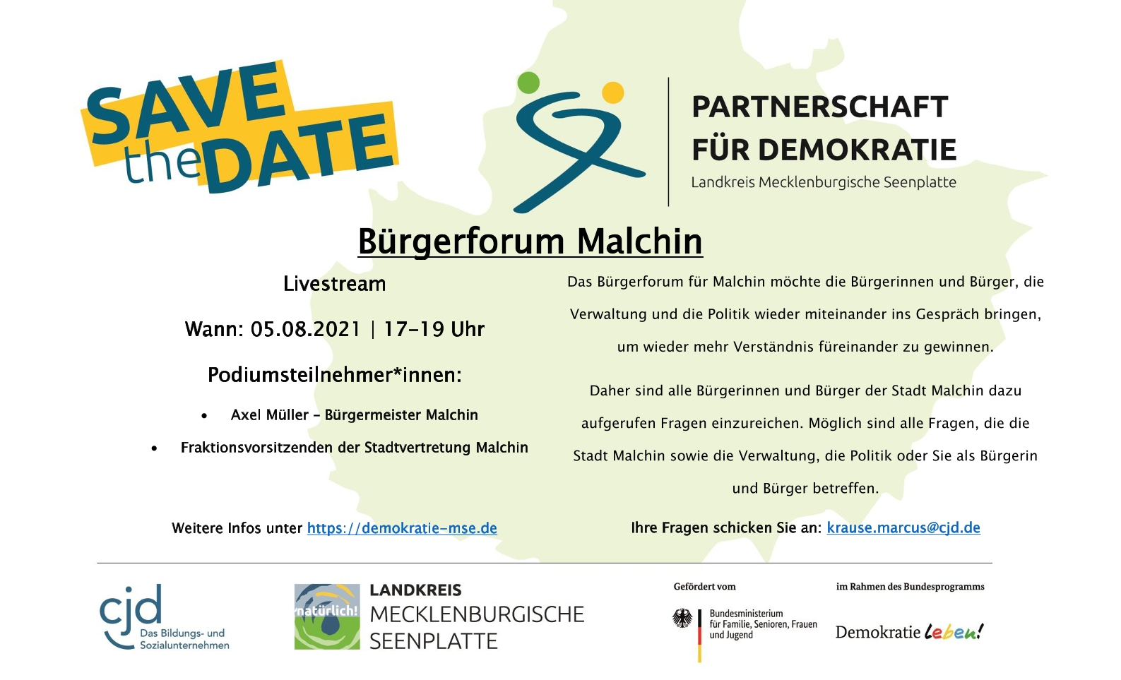 Read more about the article Bürgerforum Malchin – Save the Date