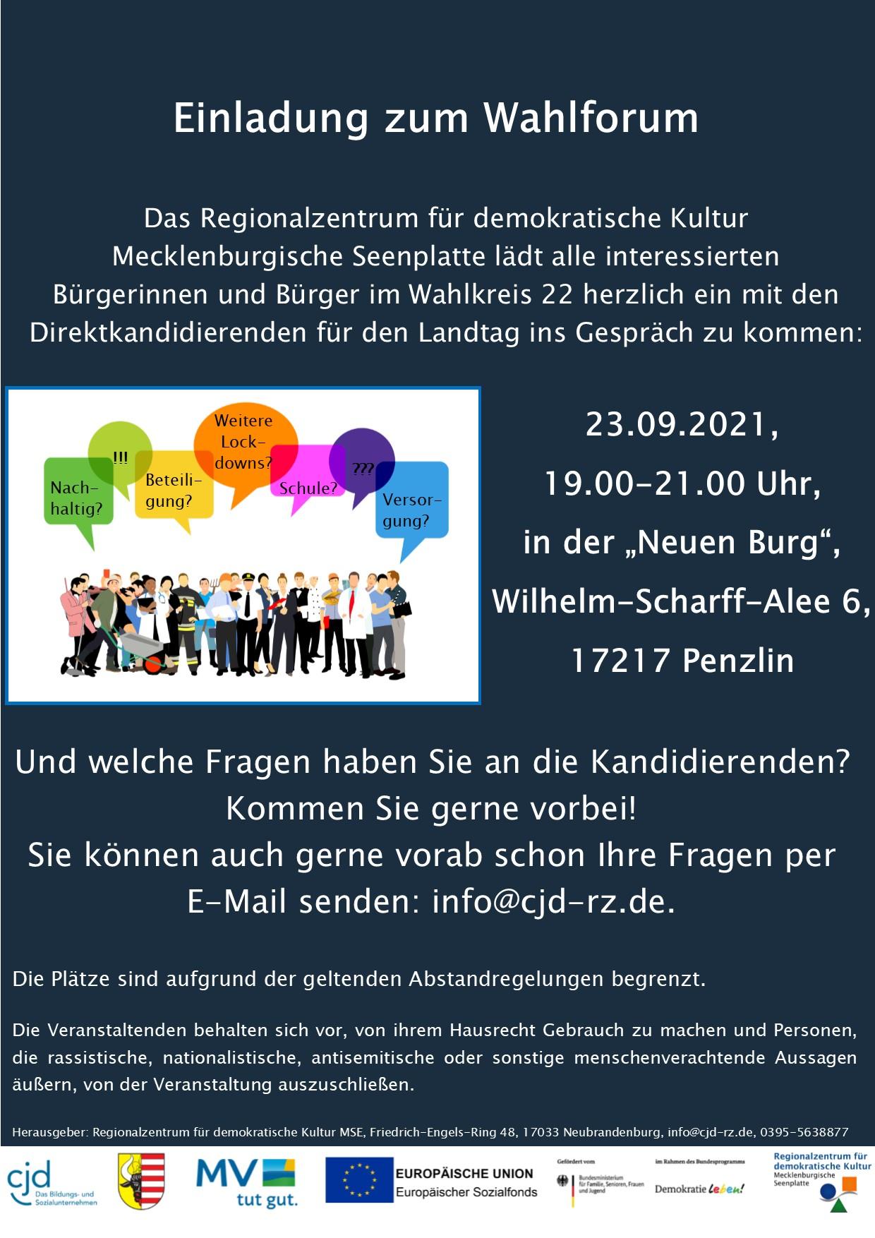 """Read more about the article Wahlforum Penzlin in der """"Neuen Burg"""""""